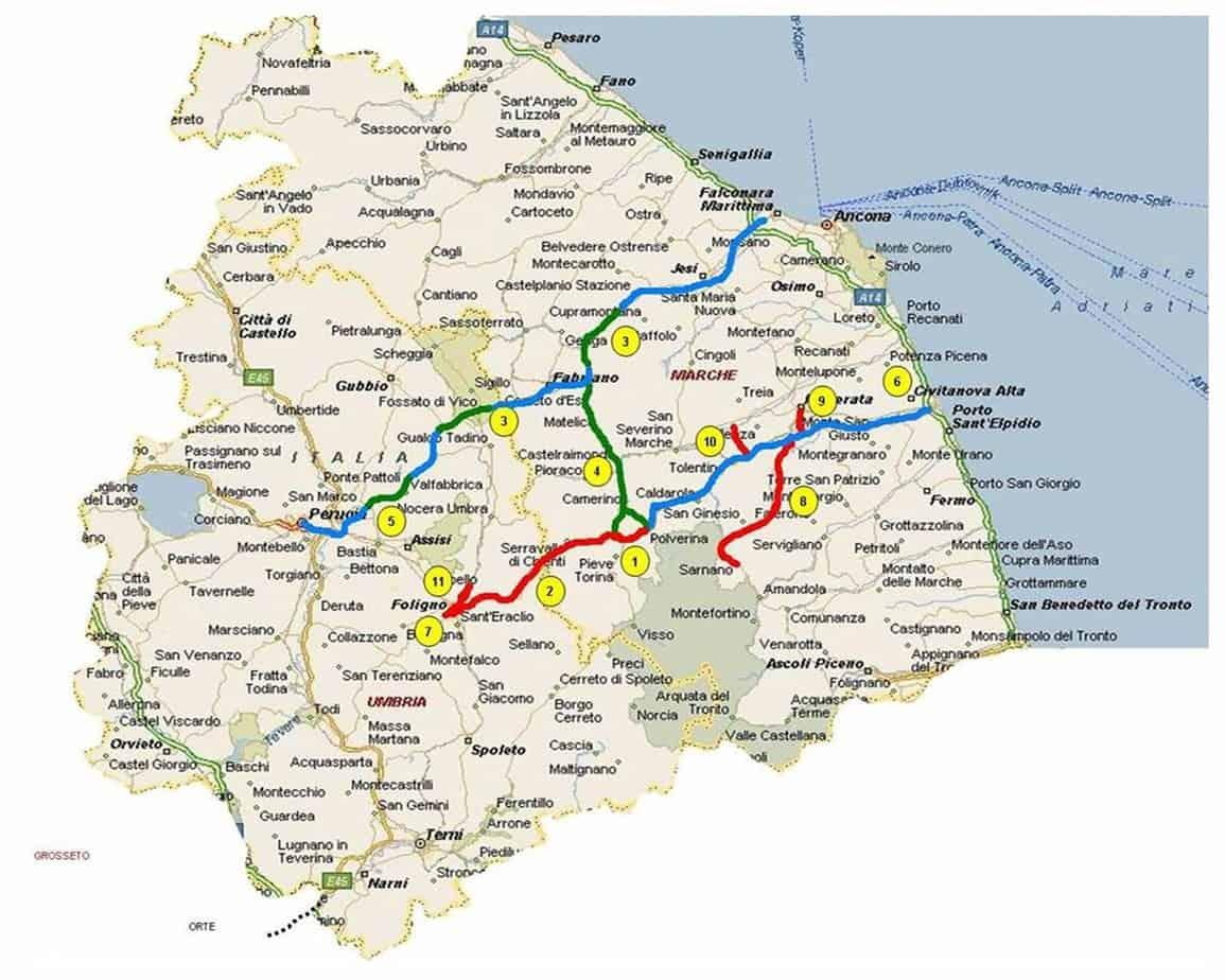 L'inquadramento territoriale degli assi viari del Quadrilatero Marche-Umbria