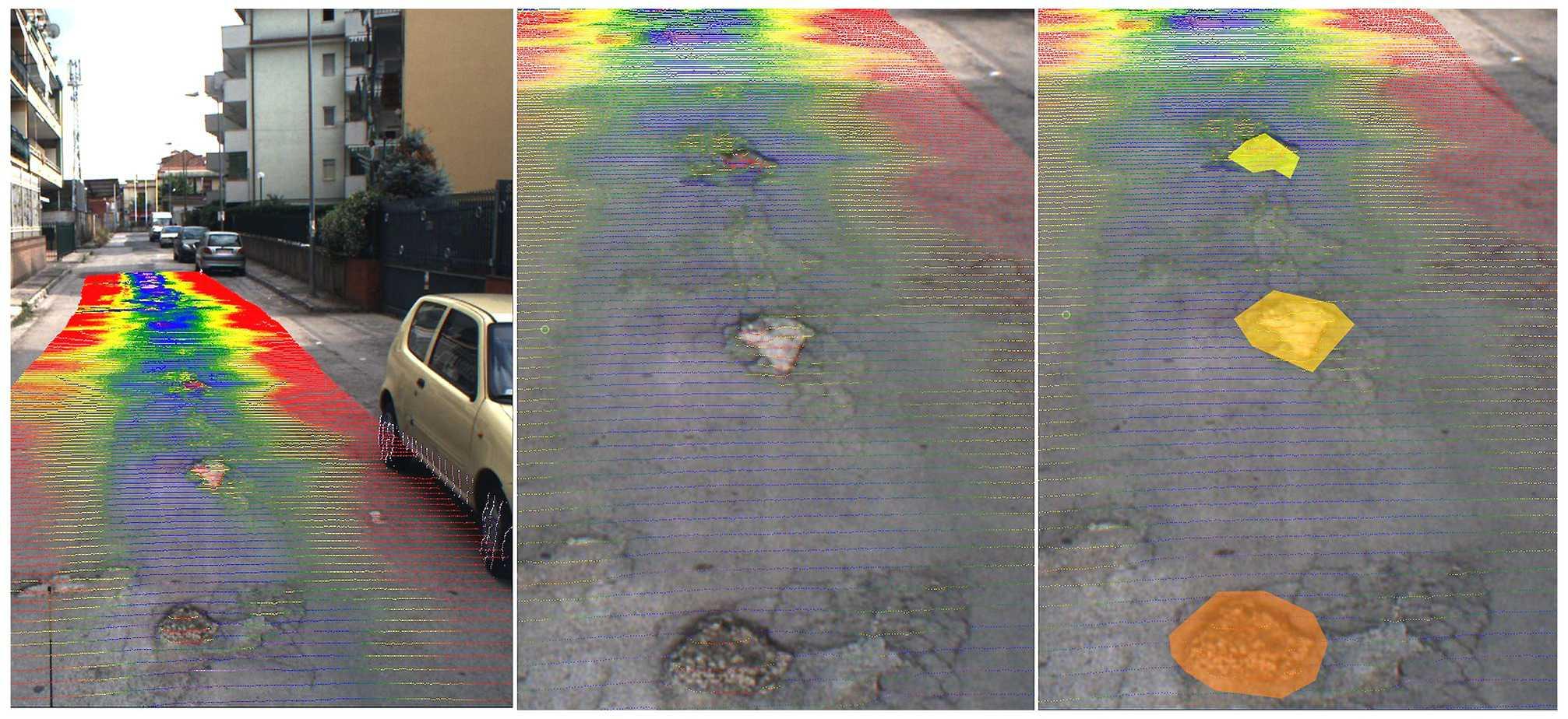Filmati, nuvole di punti laser rappresentanti in scala di colore e geometrie dei difetti georiferite