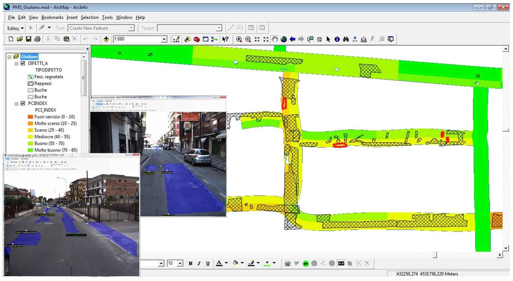 La vista analitica dei difetti sulla mappa e sui filmati