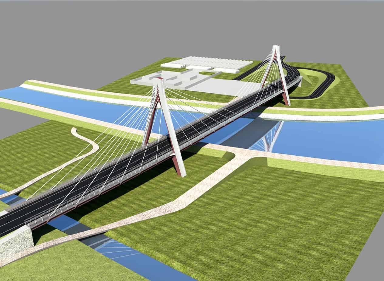 Un rendering 3D della soluzione per il nuovo ponte di Ostellato