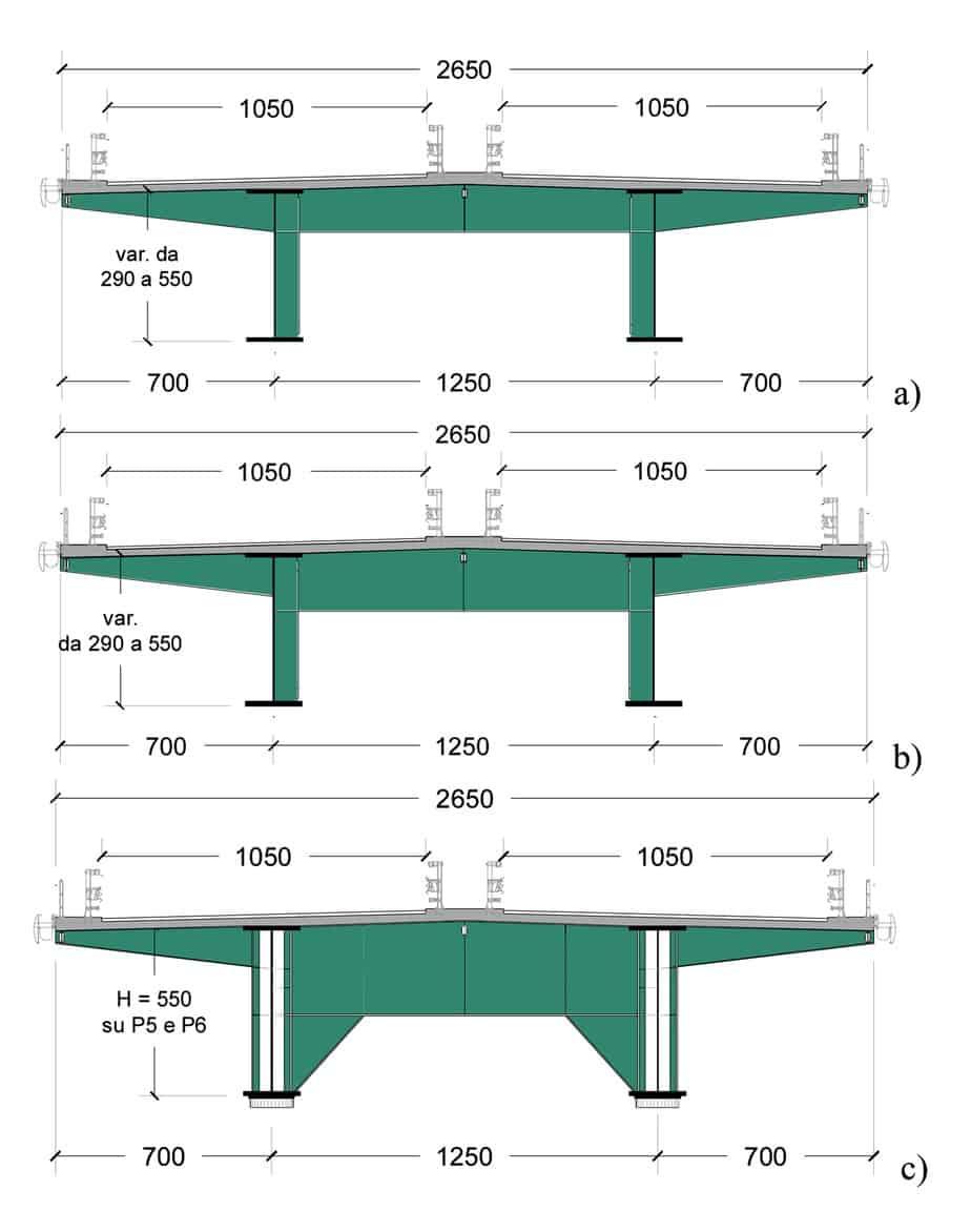 Le sezioni trasversali e la geometria dei traversi: il traverso corrente (A), quelli vicini agli appoggi (B) e quelli di appoggio (C)