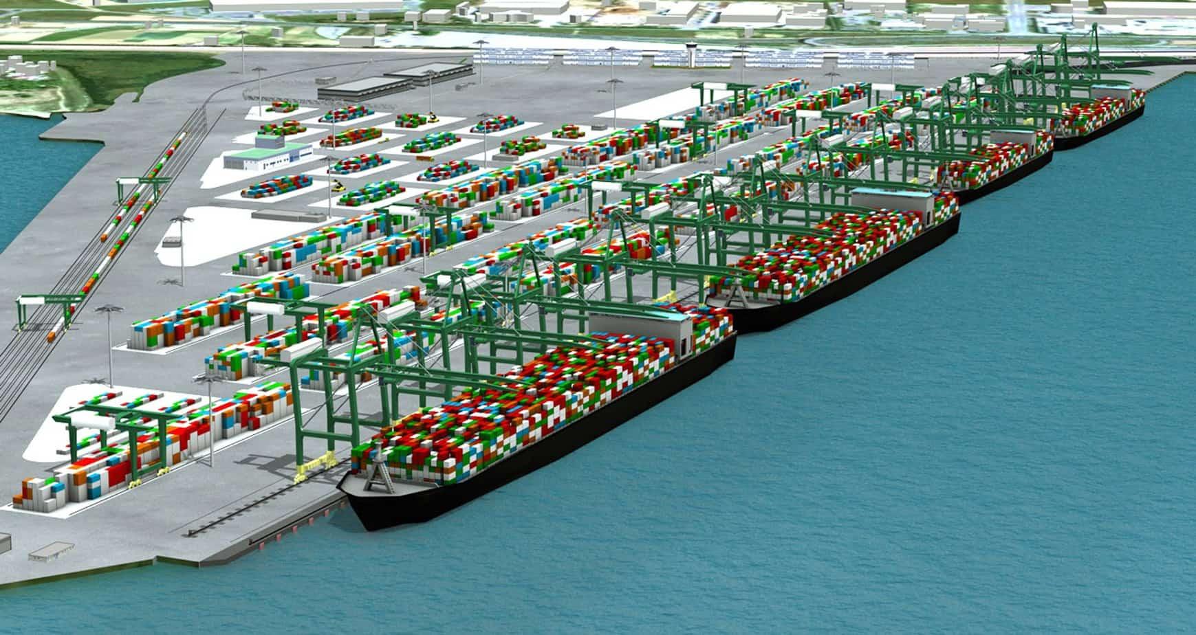 Il terminal container ingrandito; nella piantina è visibile l'area in cui si concentreranno gli interventi di adeguamento