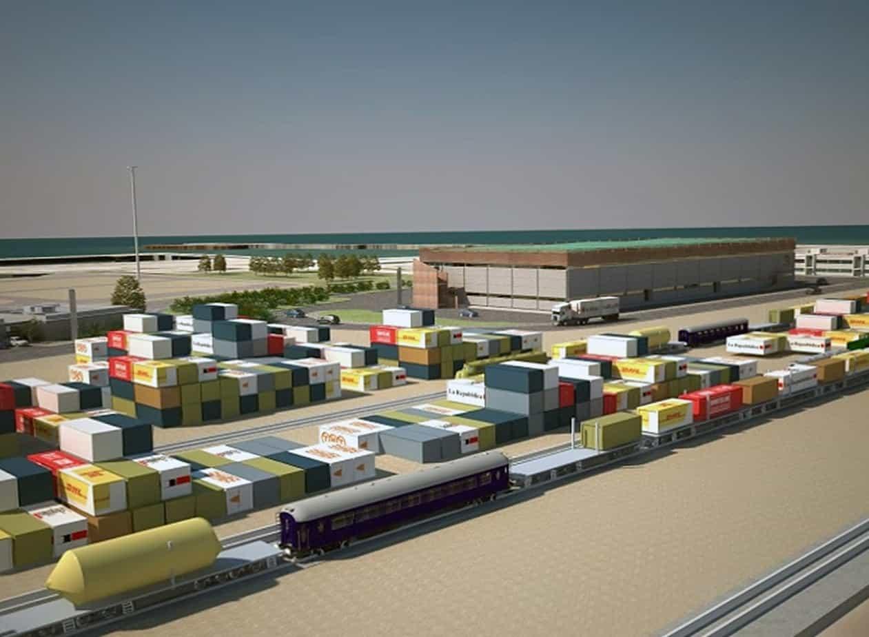 Alcune immagini della futura piastra logistica. Nel progetto è compreso anche l'ampliamento del Quarto Sporgente