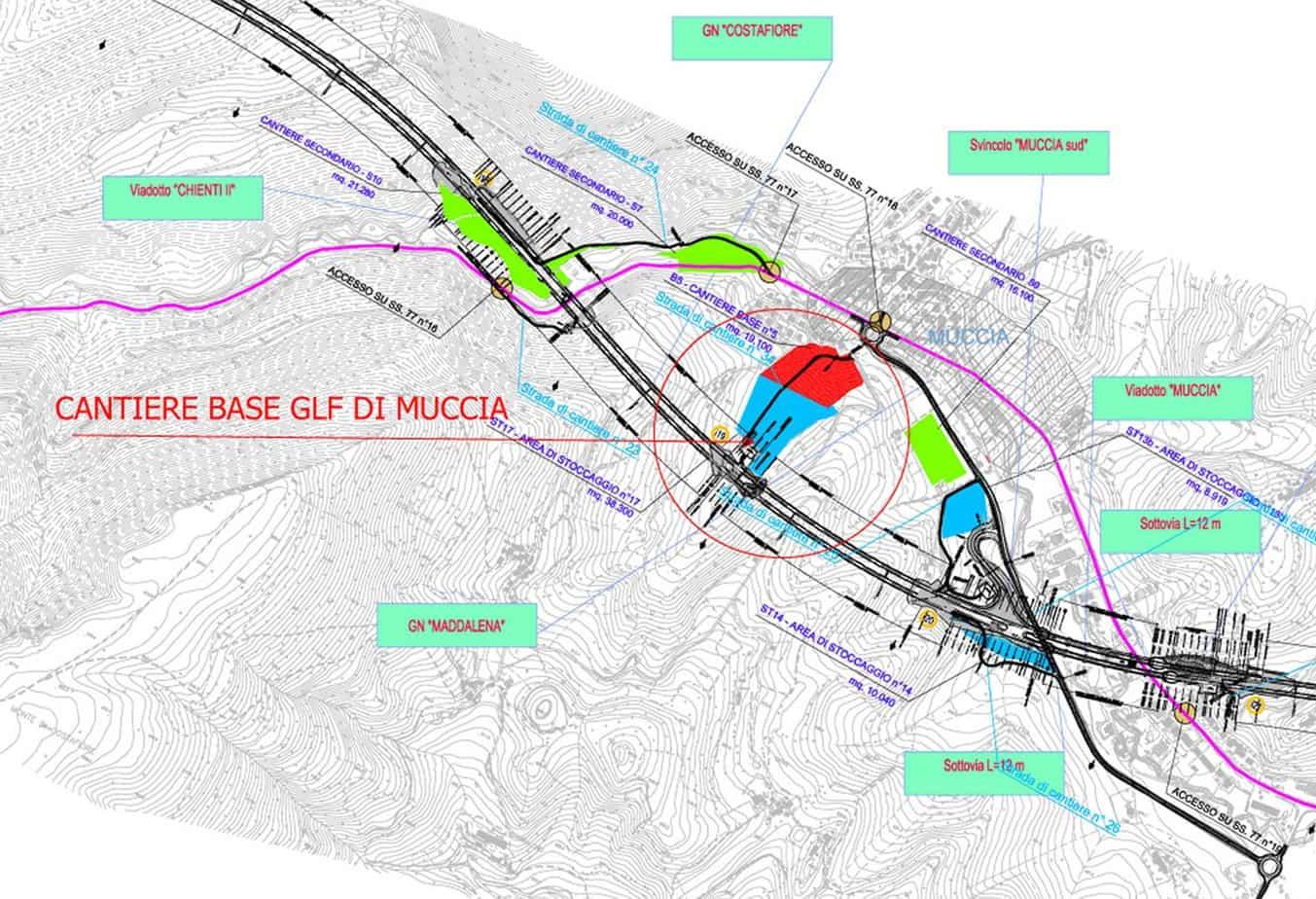 Il tracciato con l'ubicazione del viadotto Chienti 2 e del cantiere di base GLF