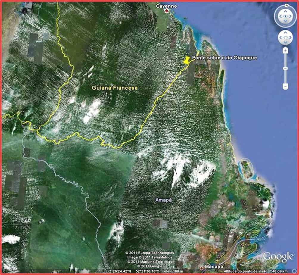 La collocazione geografica del ponte di Oiapoque