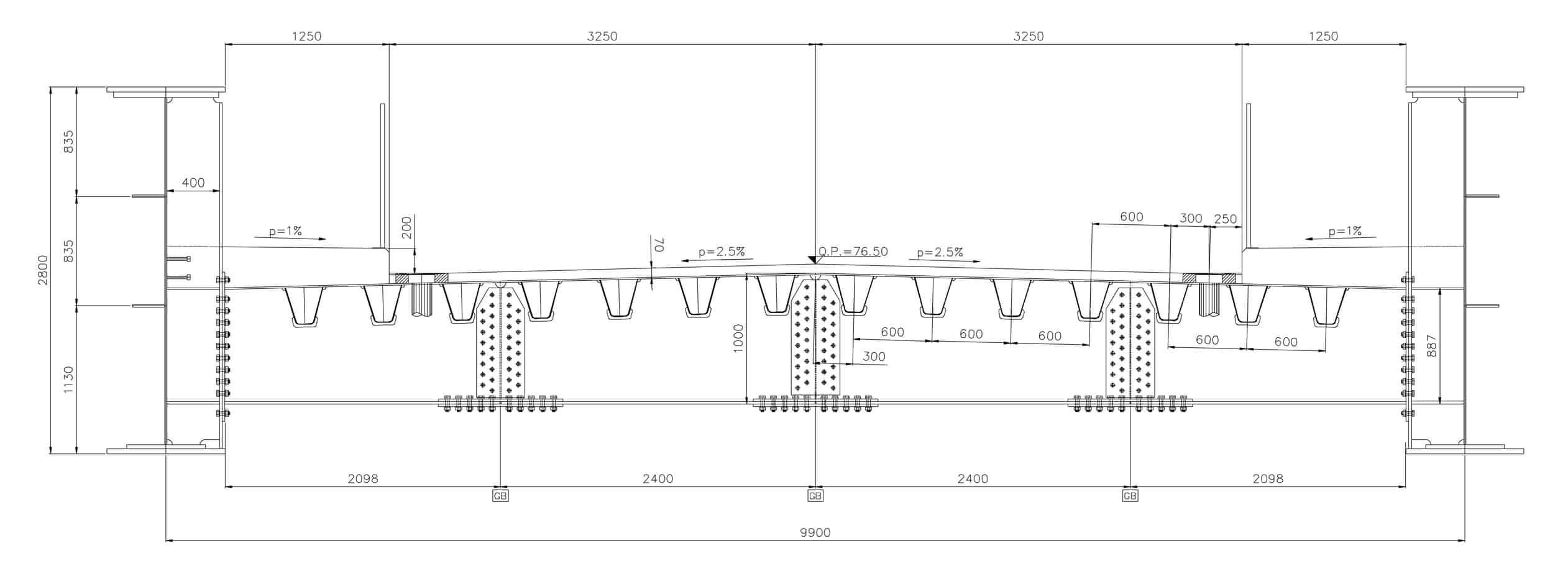 La sezione trasversale tipica di progetto