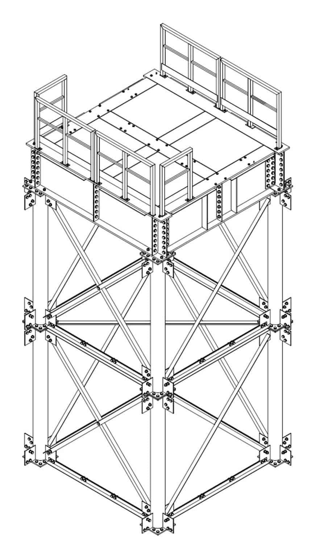 Una pila provvisoria per il montaggio in alveo e la vista dal basso dell'impalcato