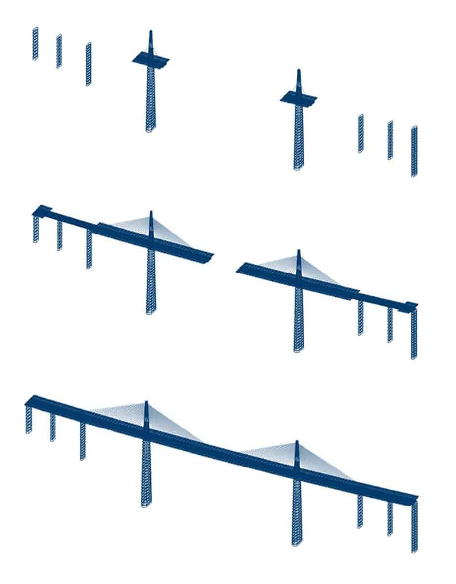 Le fasi costruttive di un ponte strallato