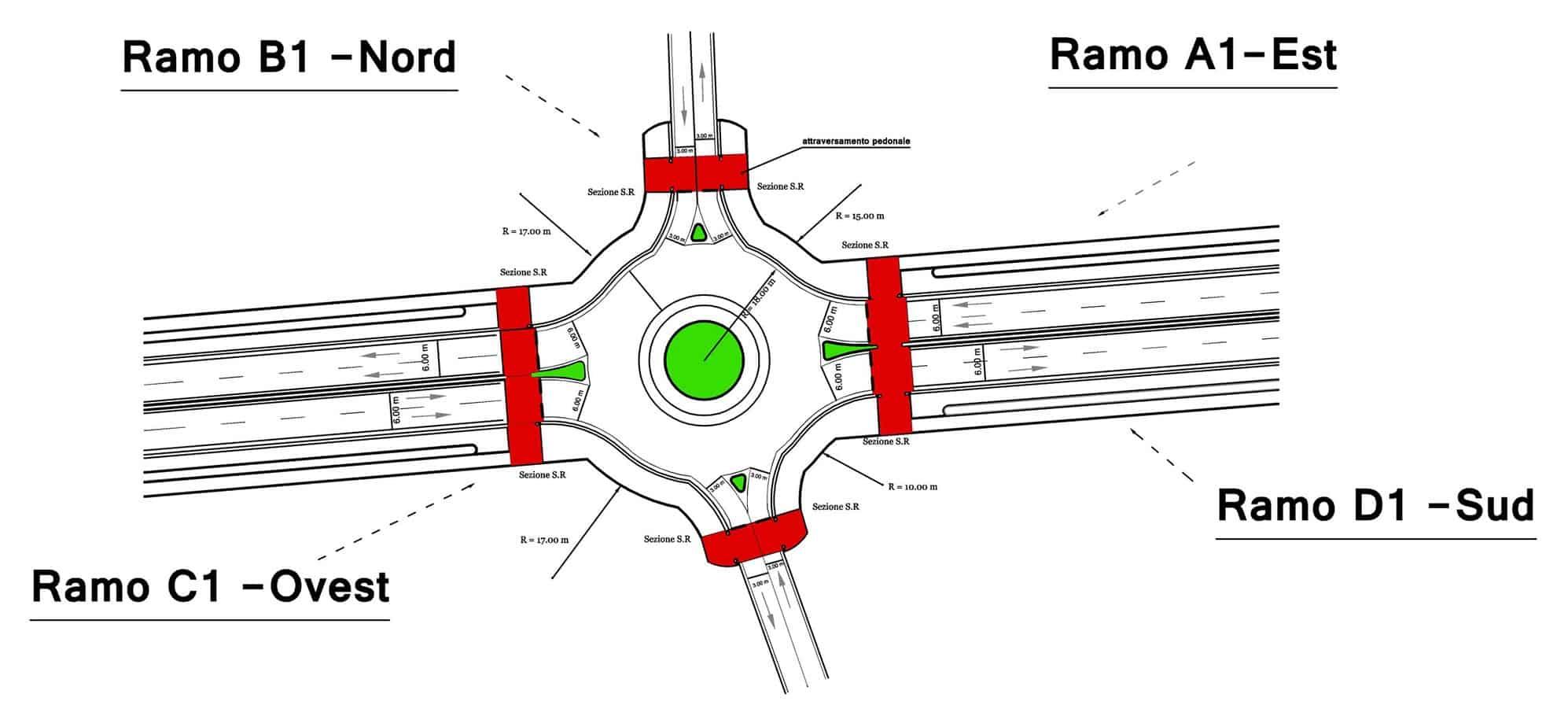 La planimetria della rotatoria 2; sezioni di rilievo S.R.