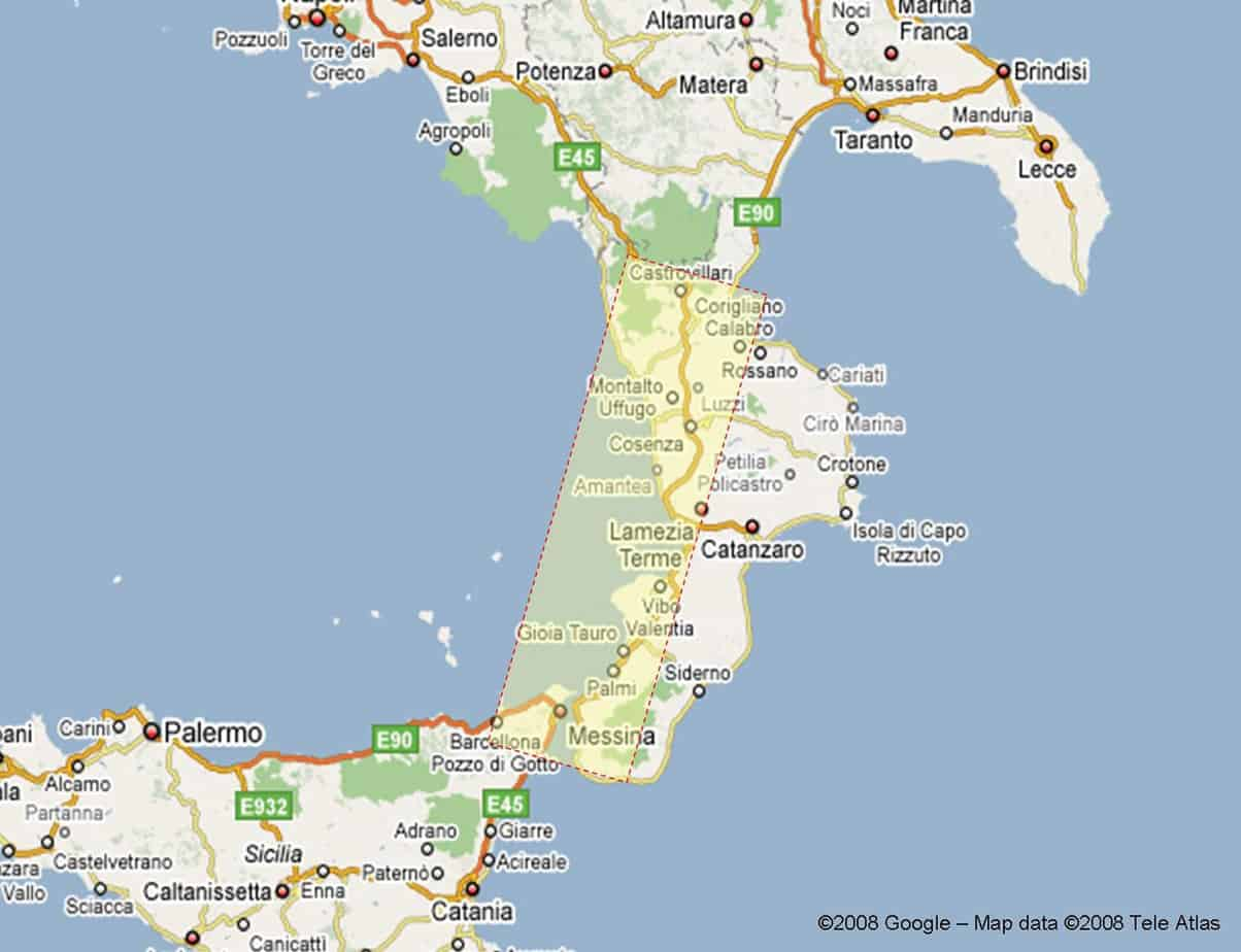 La corografia della nuova Autostrada Salerno-Reggio Calabria