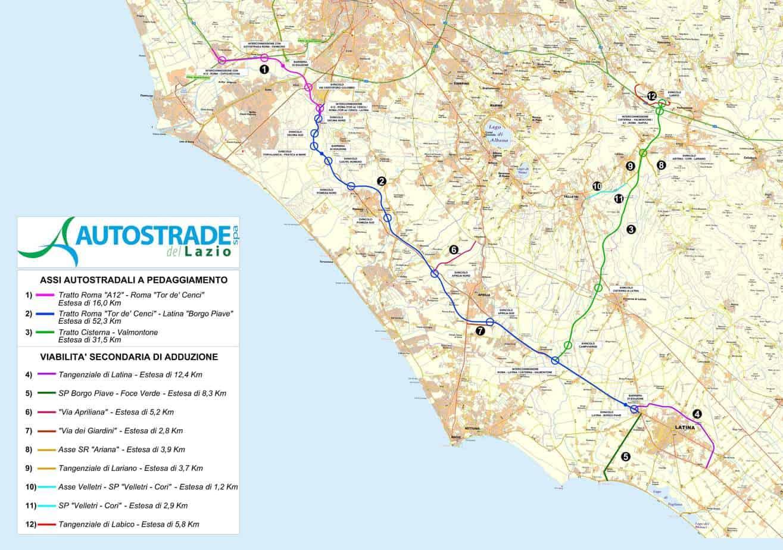 Il tracciato della Roma-Latina, della Cisterna-Valmontone e delle opere connesse