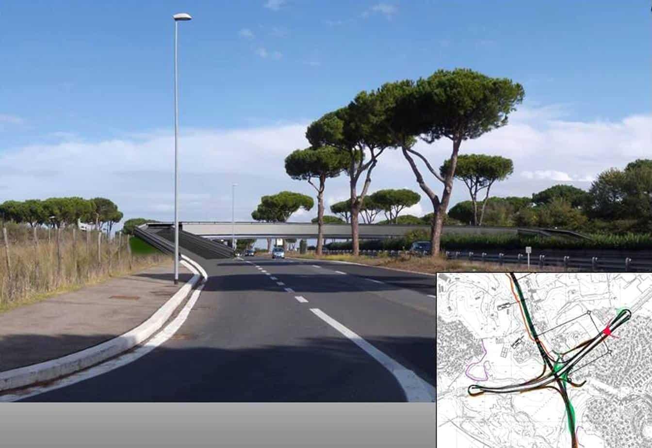 """Come sarà il tratto della Pontina all'altezza di Tor de' Cenci dove si innesterà il primo lotto proveniente dalla Roma-Fiumicino. Una sorta di """"GRA esterno"""""""