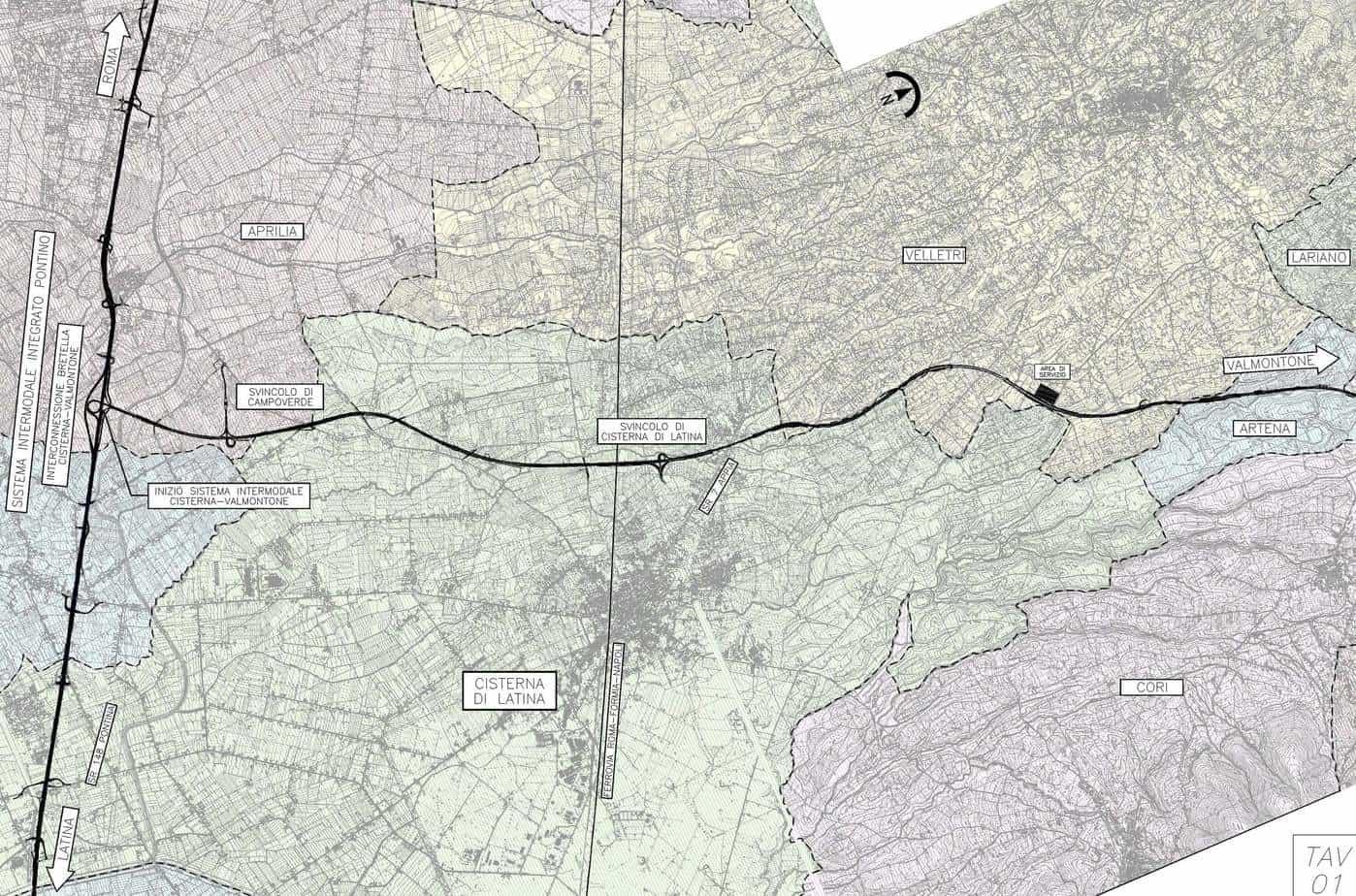 Il tracciato dettagliato della Cisterna-Valmontone