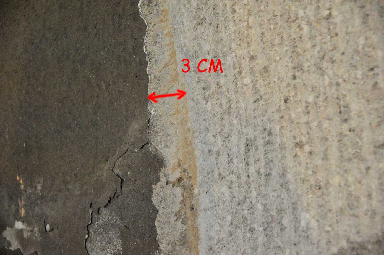 Il dettaglio dello strato di 3 cm di materiale asportato