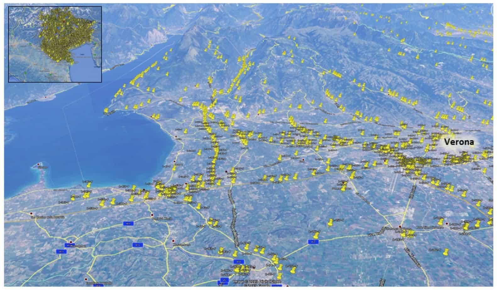La rappresentazione dei ponti e dei tombini identificati nella zona Ovest della provincia di Verona