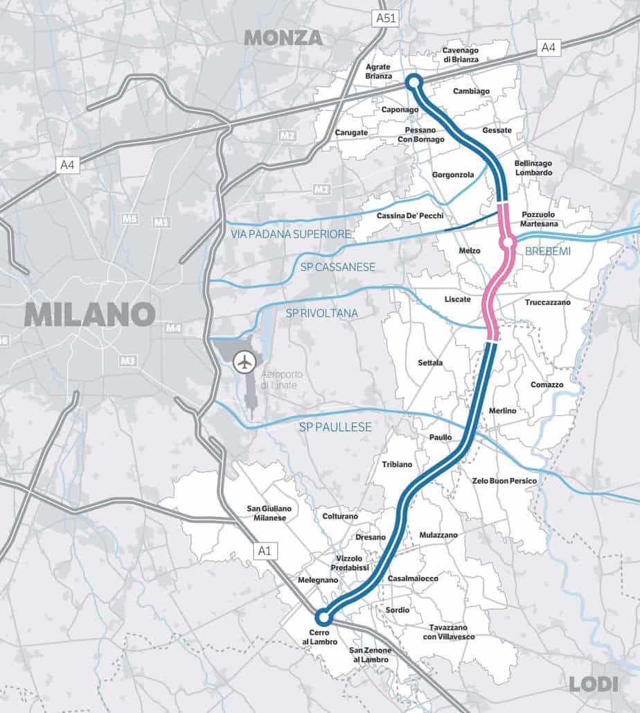 Il tracciato completo della Tangenziale Est Esterna di Milano