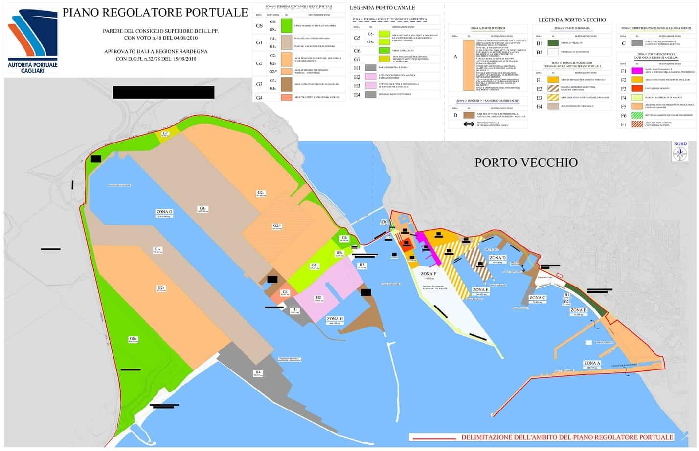 La planimetria del porto di Cagliari: a sinistra il porto canale, a destra lo scalo storico