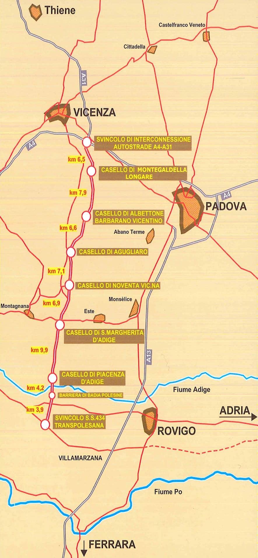 Il tracciato della A31 Valdastico, tronco Vicenza-Rovigo