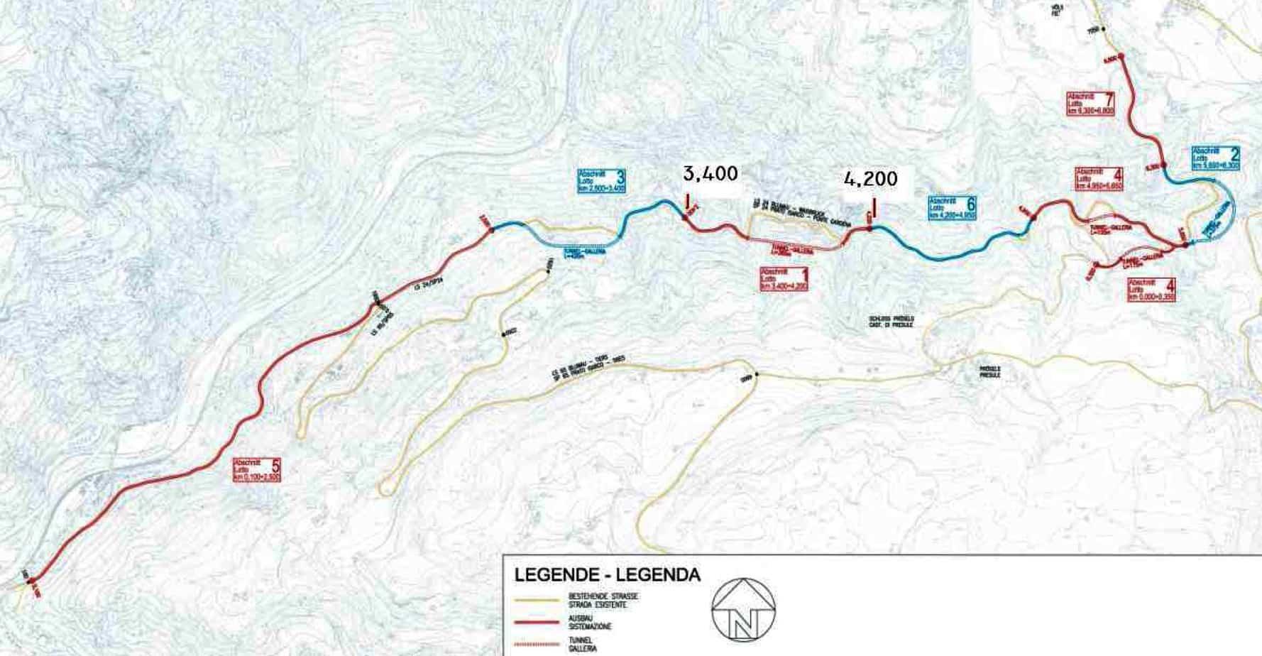 La lunghezza totale del tratto di strada da Prato Isarco fino all'inizio dell'abitato di Fiè è di circa 7 km
