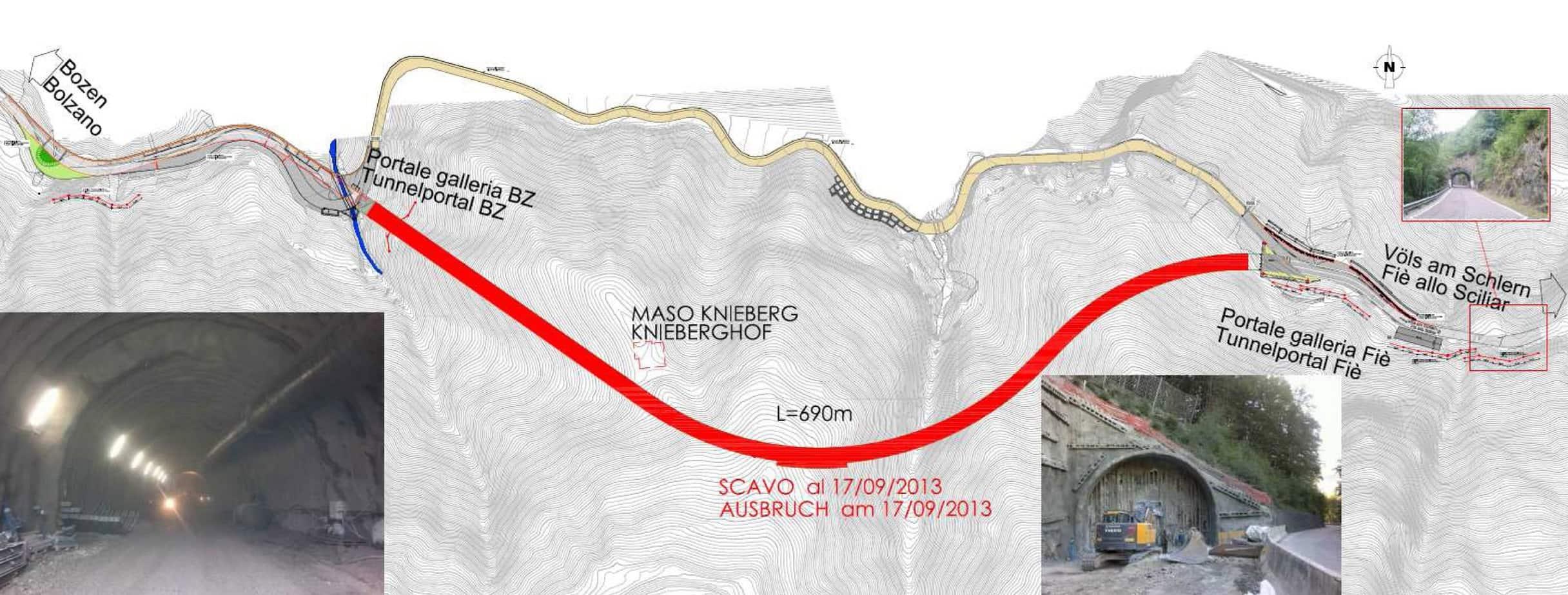 La lunghezza della galleria definitiva è di 690 m