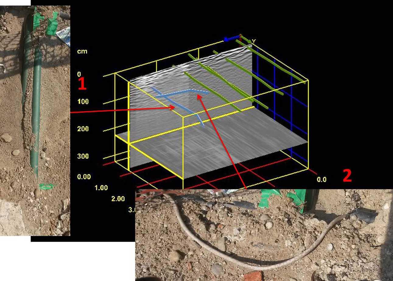 La rappresentazione tridimensionale dei profili acquisiti con georadar. I servizi 1 (il tubo verde) e 2 (il cavo bianco) sono emersi in fase di scavo