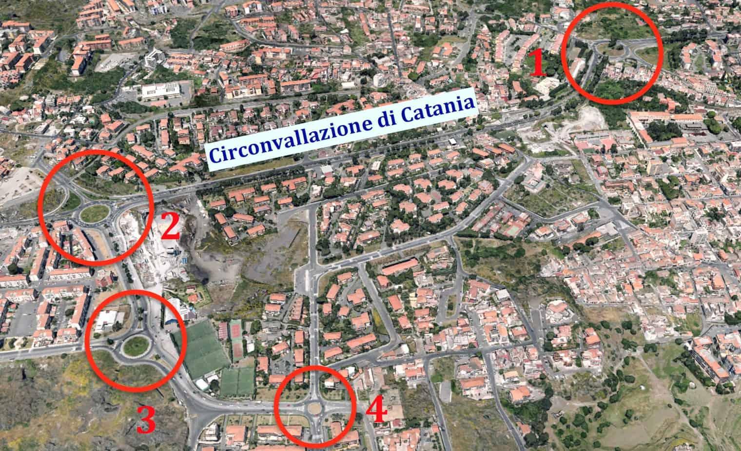 L'ubicazione delle rotatorie oggetto di indagine (comune di Catania)