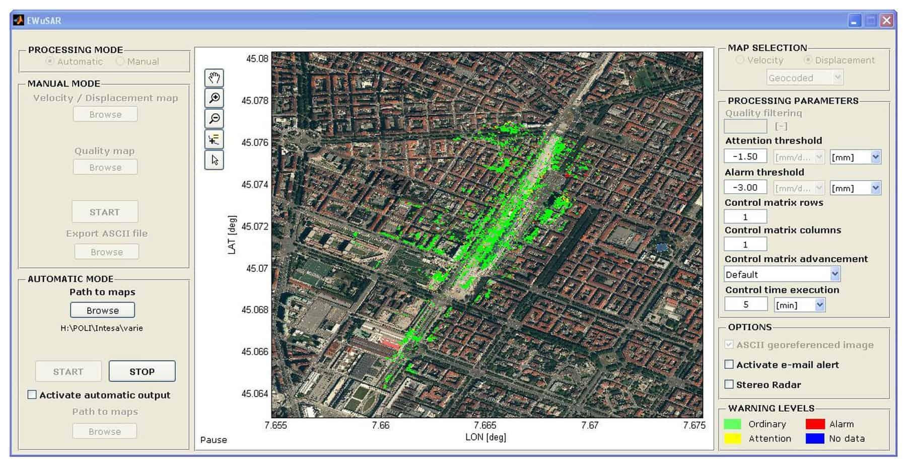 Una videata di EWuSAR durante la prova presso il Politecnico di Torino