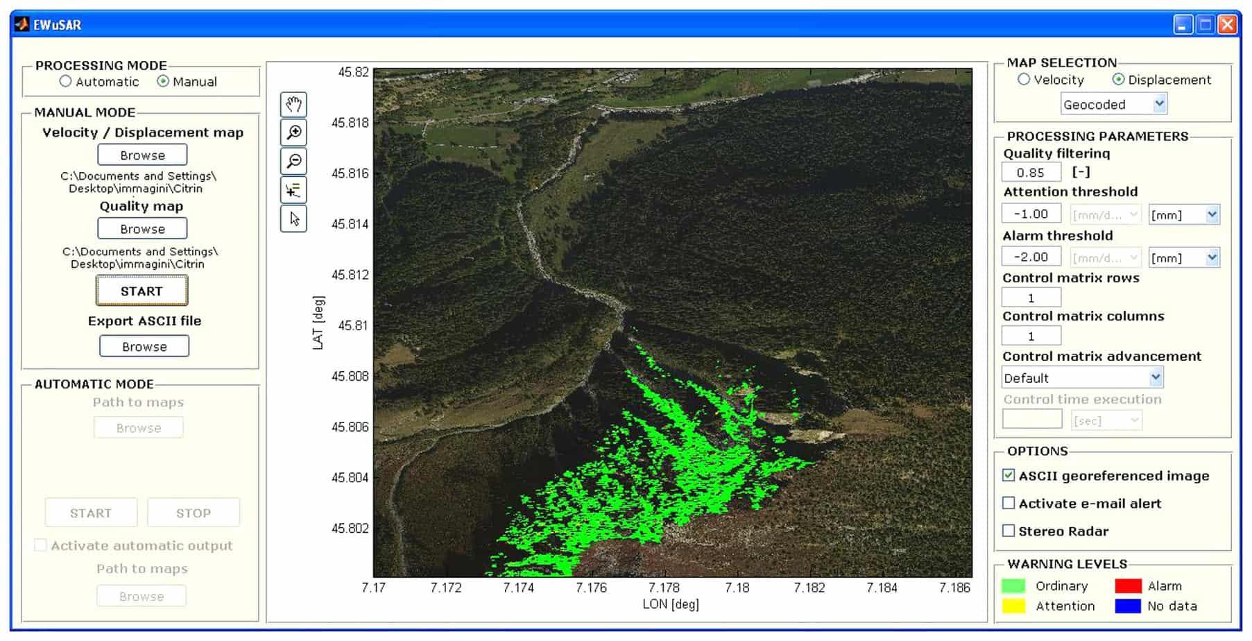 Una videata di EWuSAR durante la prova presso la frana di Citrin (AO)