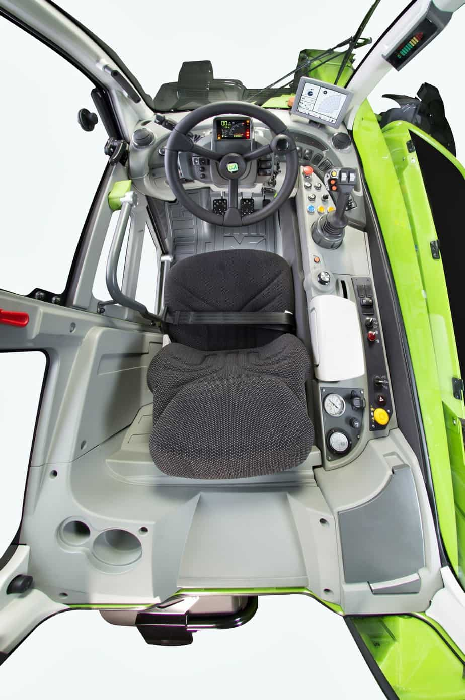 La cabina sospesa ha un'escursione di 110 mm che permette di assorbire molto bene le asperità riducendo le vibrazioni