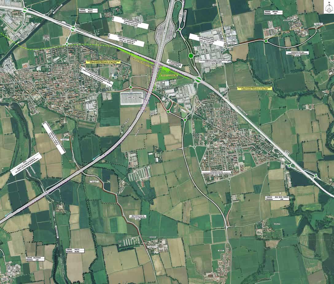 Il progetto dell'intersezione tra la TEEM e la nuova Paullese a quattro corsie