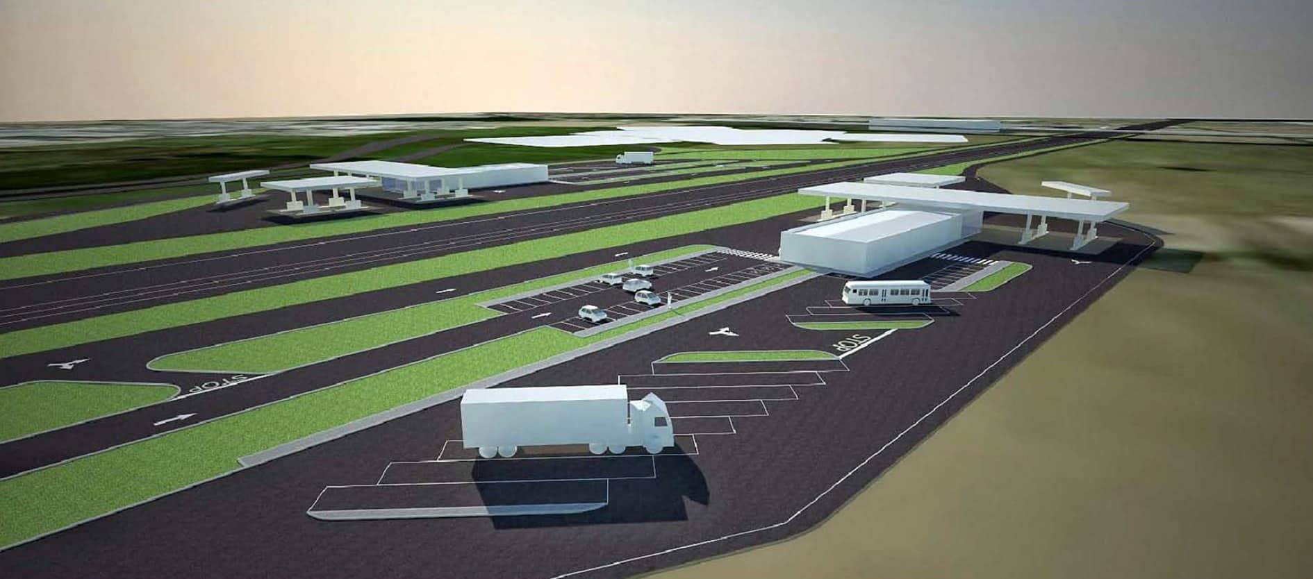 Un rendering dei parcheggi dedicati ai mezzi pesanti