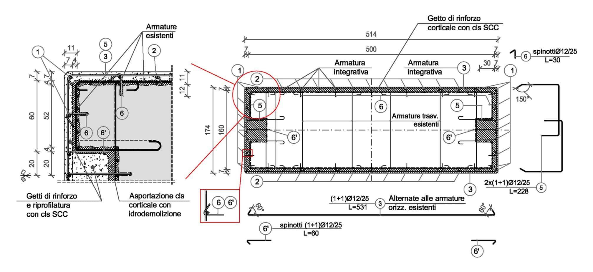 Lo schema dell'intervento di risanamento/rinforzo dei fusti delle pile (dimensioni in centimetri): dettaglio e armatura della sezione tipica