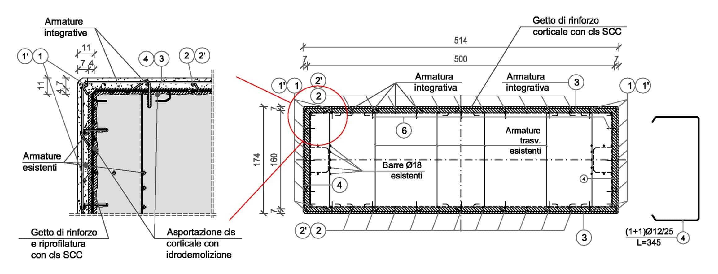 Lo schema dell'intervento di risanamento/rinforzo dei fusti delle pile (dimensioni in centimetri): dettaglio e armatura della sezione di base