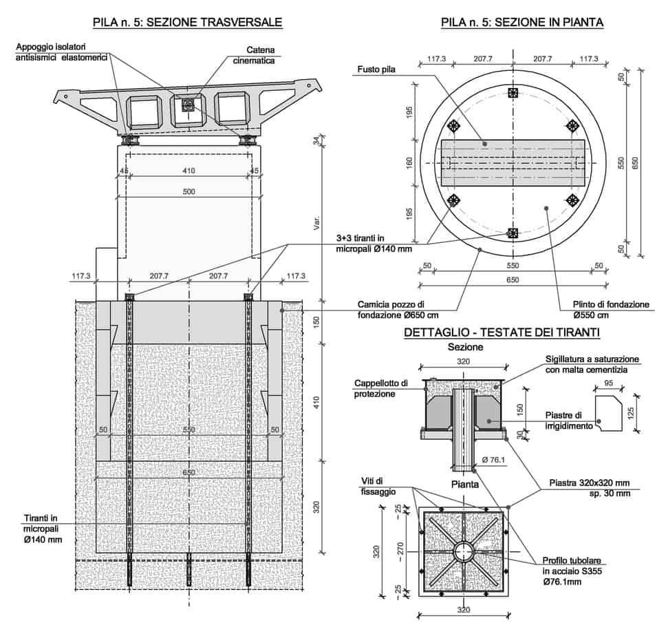 Lo schema dell'intervento sulla pila 5 (dimensioni in centimetri)