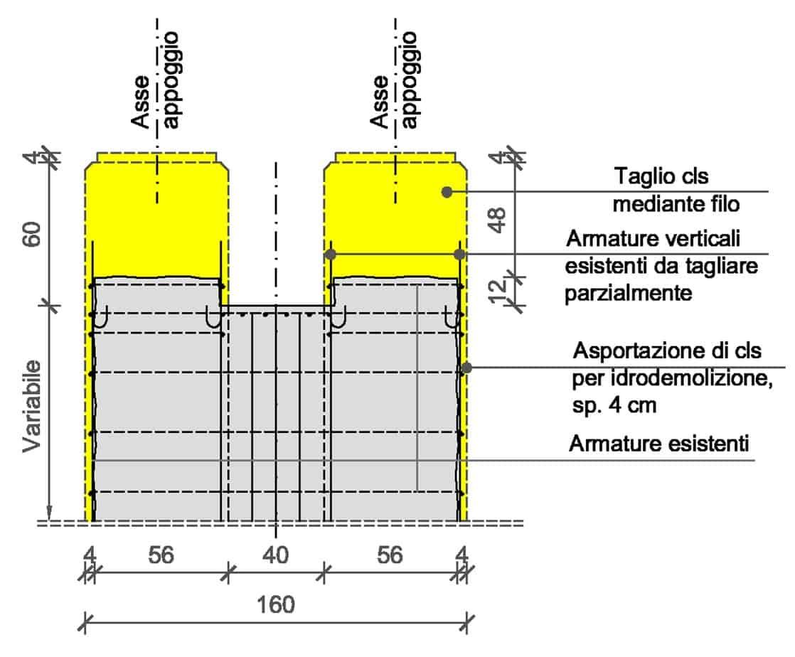 La risagomatura della sommità delle pile e la posa in opera dei nuovi appoggi isolatori (dimensioni in centimetri): la fase intermedia
