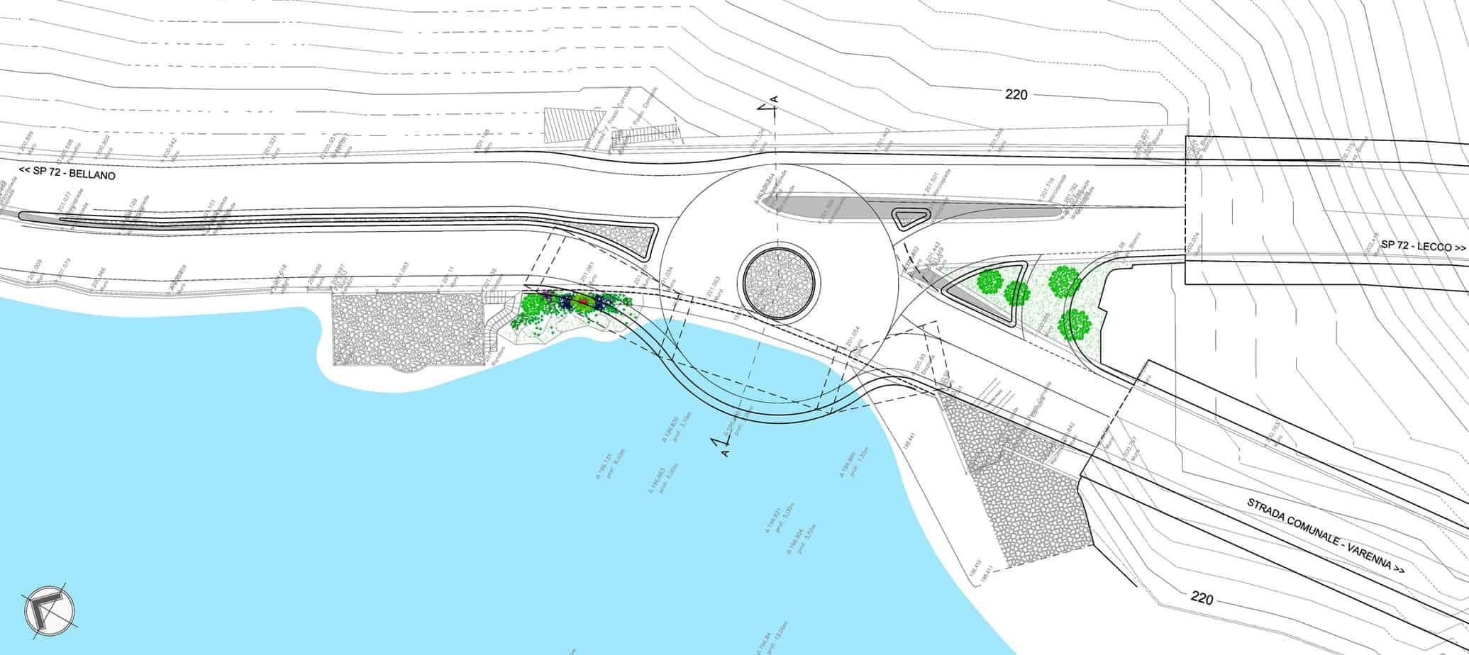 La planimetria del progetto della piccola rotatoria a precedenza interna realizzata a sbalzo sul lago