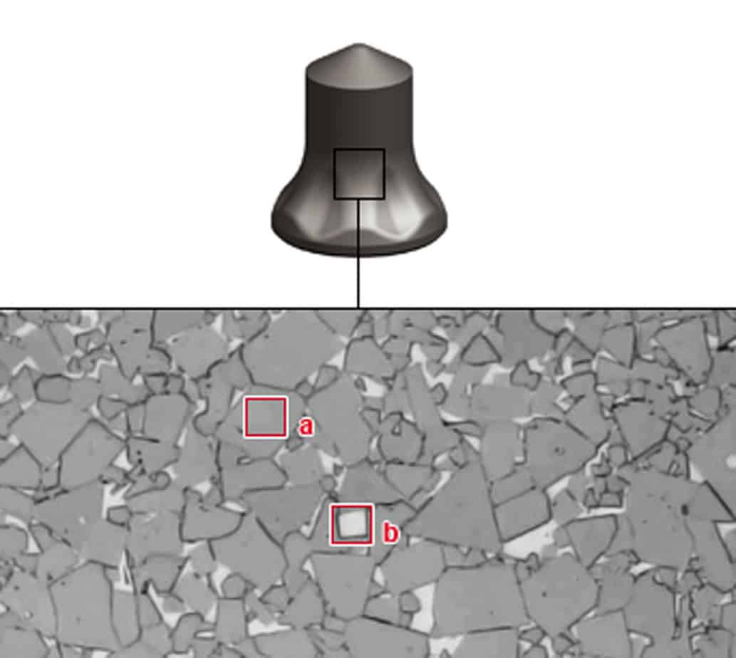 La struttura del carburo. La matrice di cobalto in chiaro