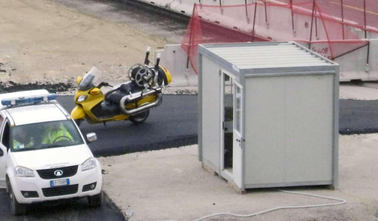 Lo scooter in dotazione al Sicurista per servizio di primo intervento in caso di incendio