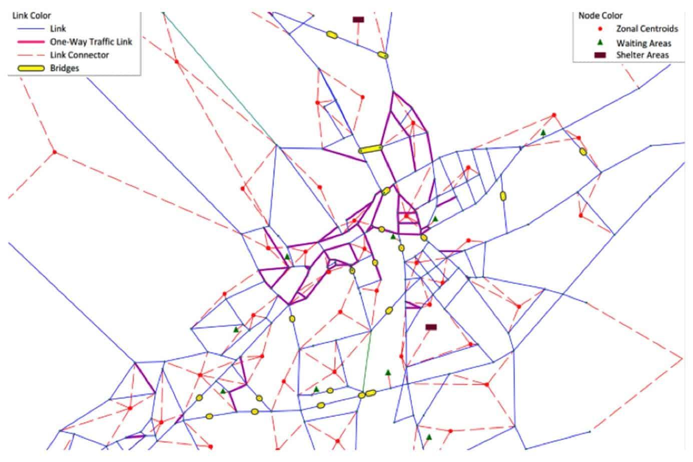 Il grafo di trasporto nella zona del centro storico di Conegliano