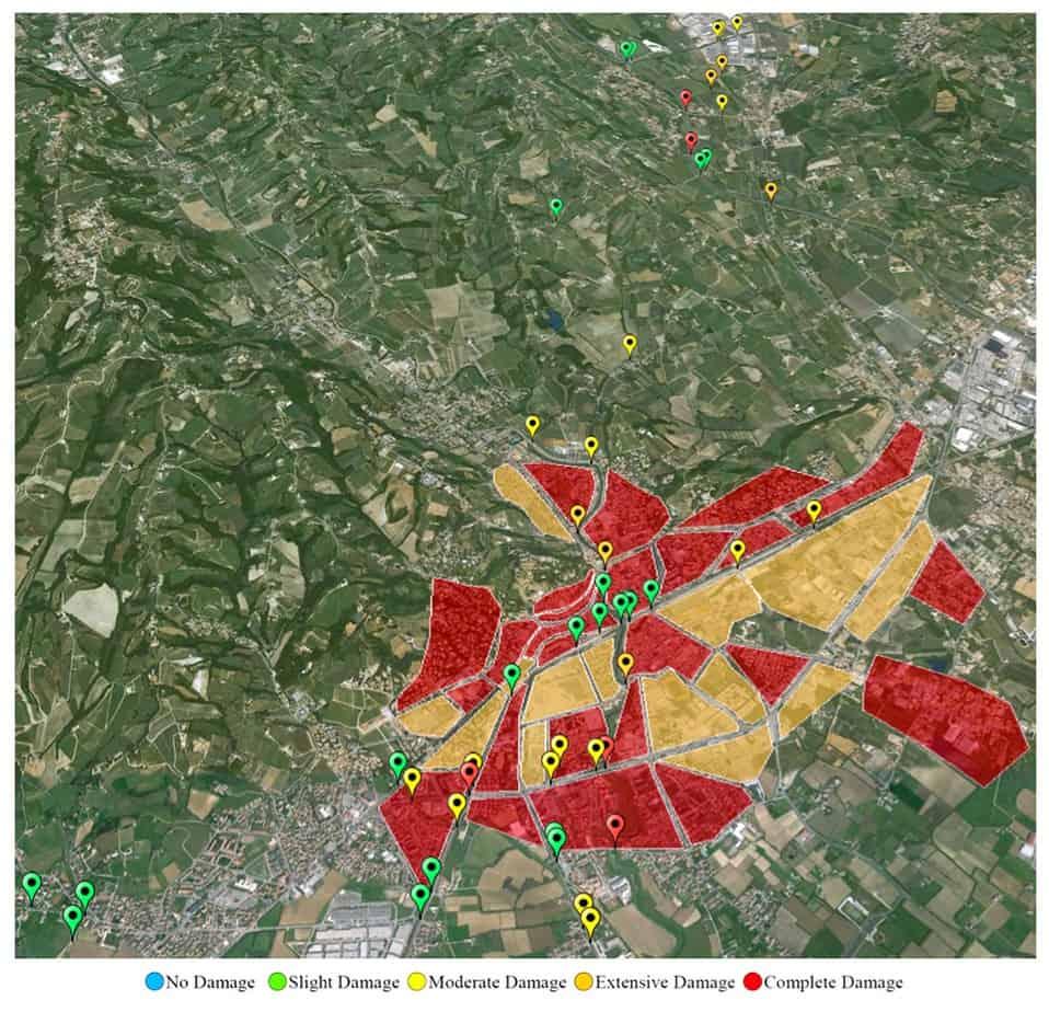La rappresentazione dello stato di danneggiamento di ponti e aree edificate prodotto da un evento sismico di magnitudo pari a Mw 6.6 localizzato a 10 km di distanza dal comune di Conegliano