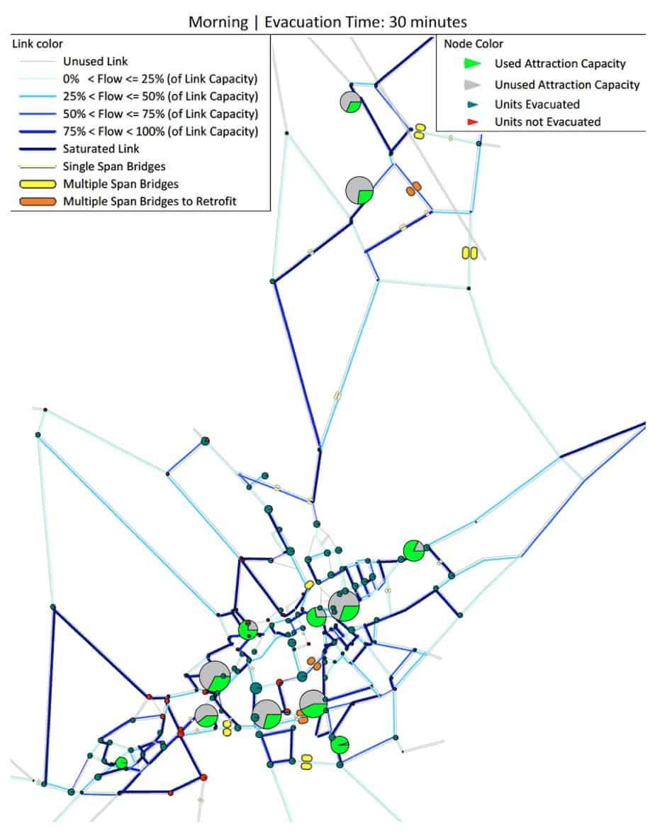 La rappresentazione dei risultati dell'analisi di evacuazione per uno scenario sismico di Mw 6,6 a 10 km e tempo di evacuazione richiesto pari a 30 minuti