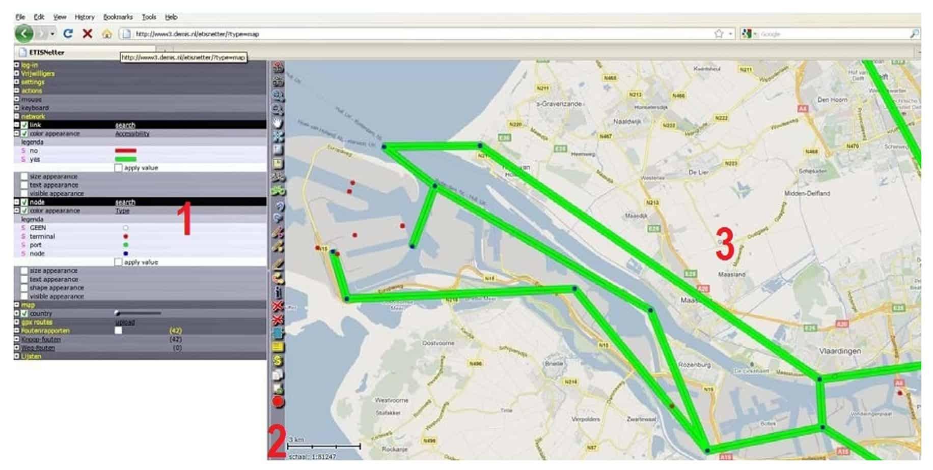 Il browser web di ETI - netter (1. applicazioni di settings; 2. toolbar verticale; 3. mappa Client)