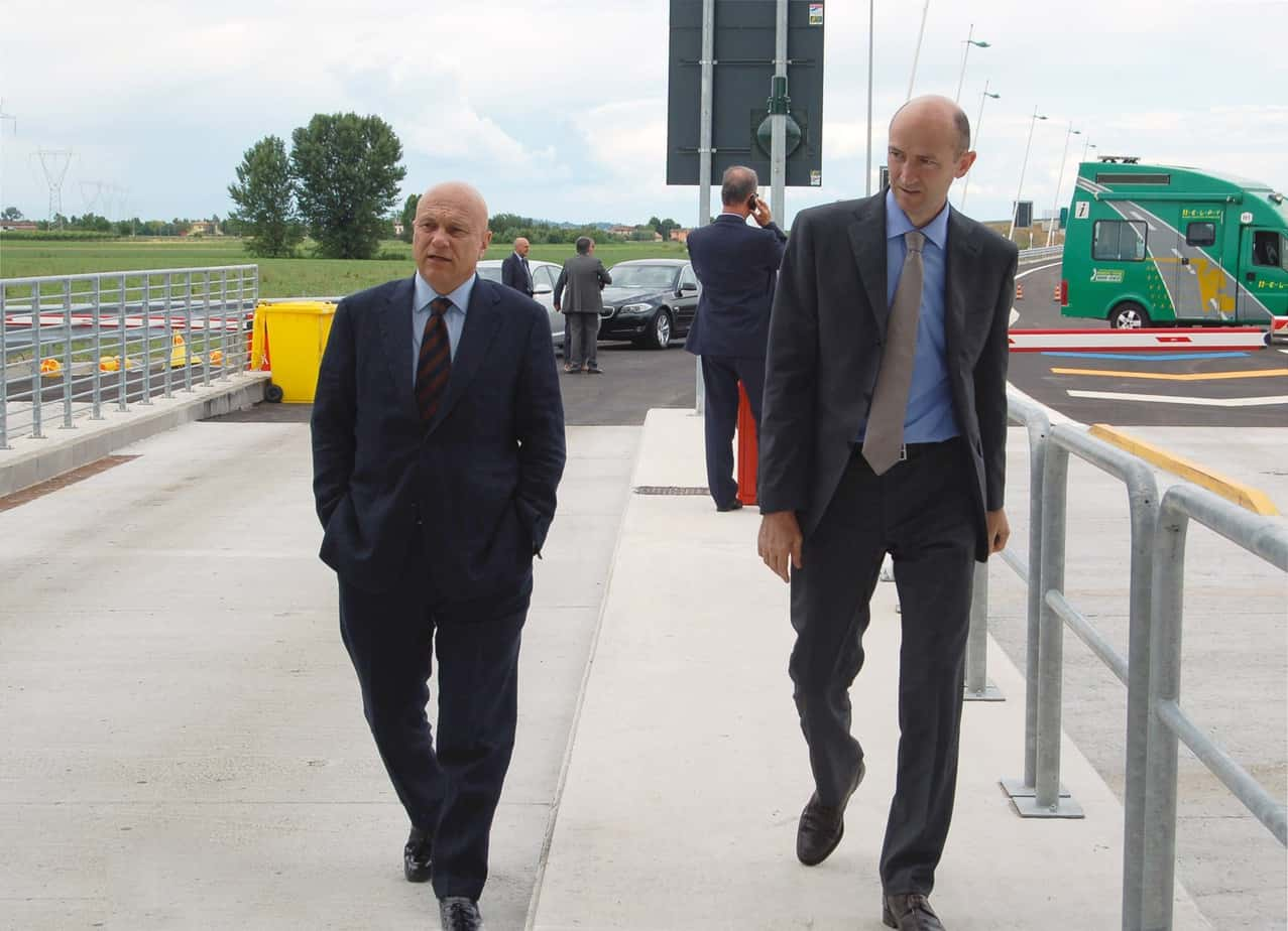 L'Ing. Giulio Burchi in visita sull'Autostrada A31 prima dell'apertura di una nuova tratta