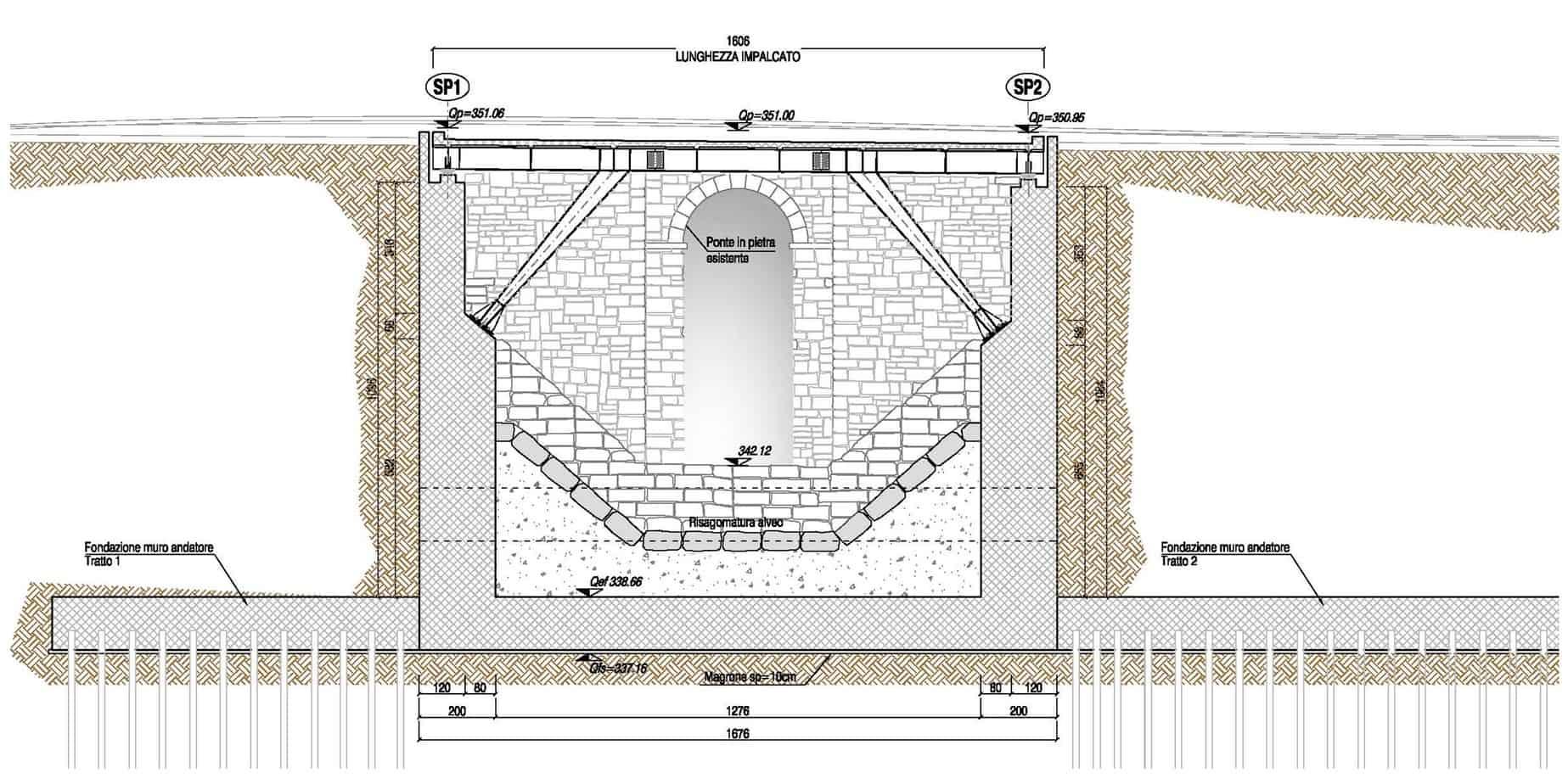 La sezione di adeguamento del ponte delle Streghe