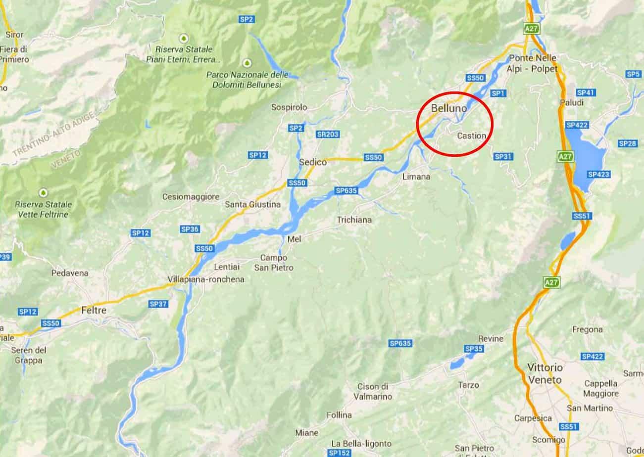 Lo schema della viabilità della Valbelluna e la localizzazione dell'area di intervento