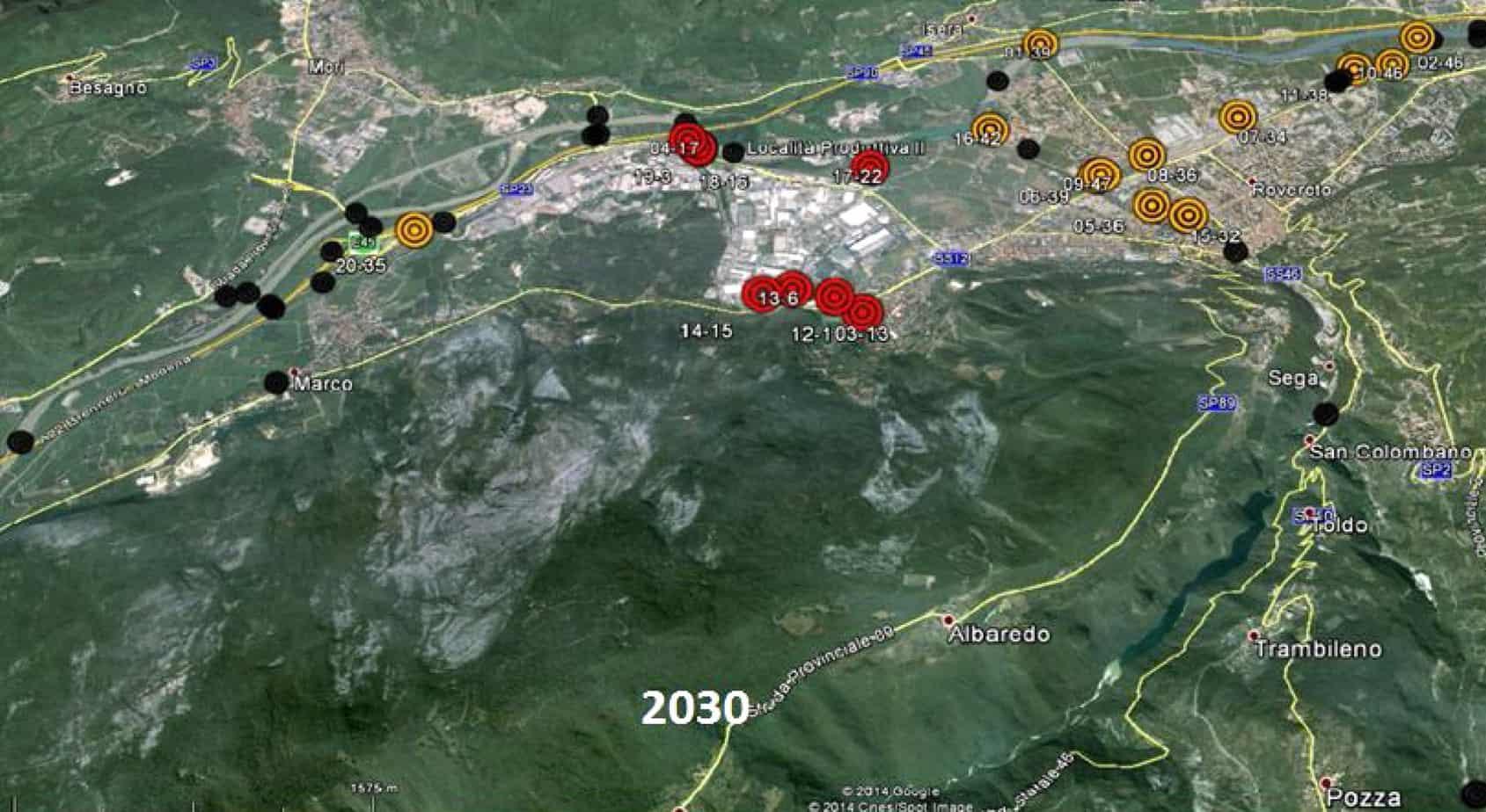 Lo scenario di deterioramento nell'anno 2030 per un gruppo di manufatti situati nel comune di Rovereto