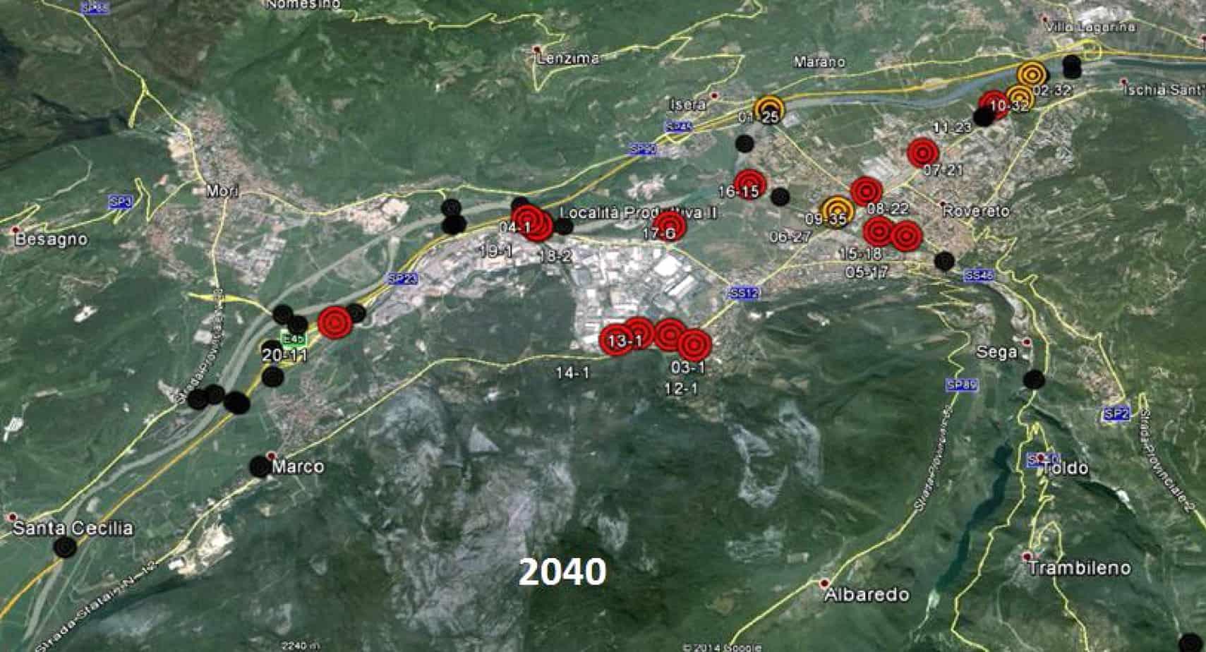 Lo scenario di deterioramento nell'anno 2040 per un gruppo di manufatti situati nel comune di Rovereto