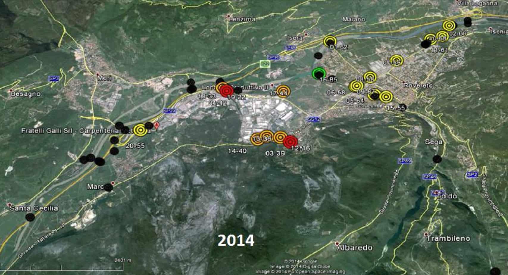 Lo scenario di deterioramento attuale per un gruppo di manufatti situati nel comune di Rovereto