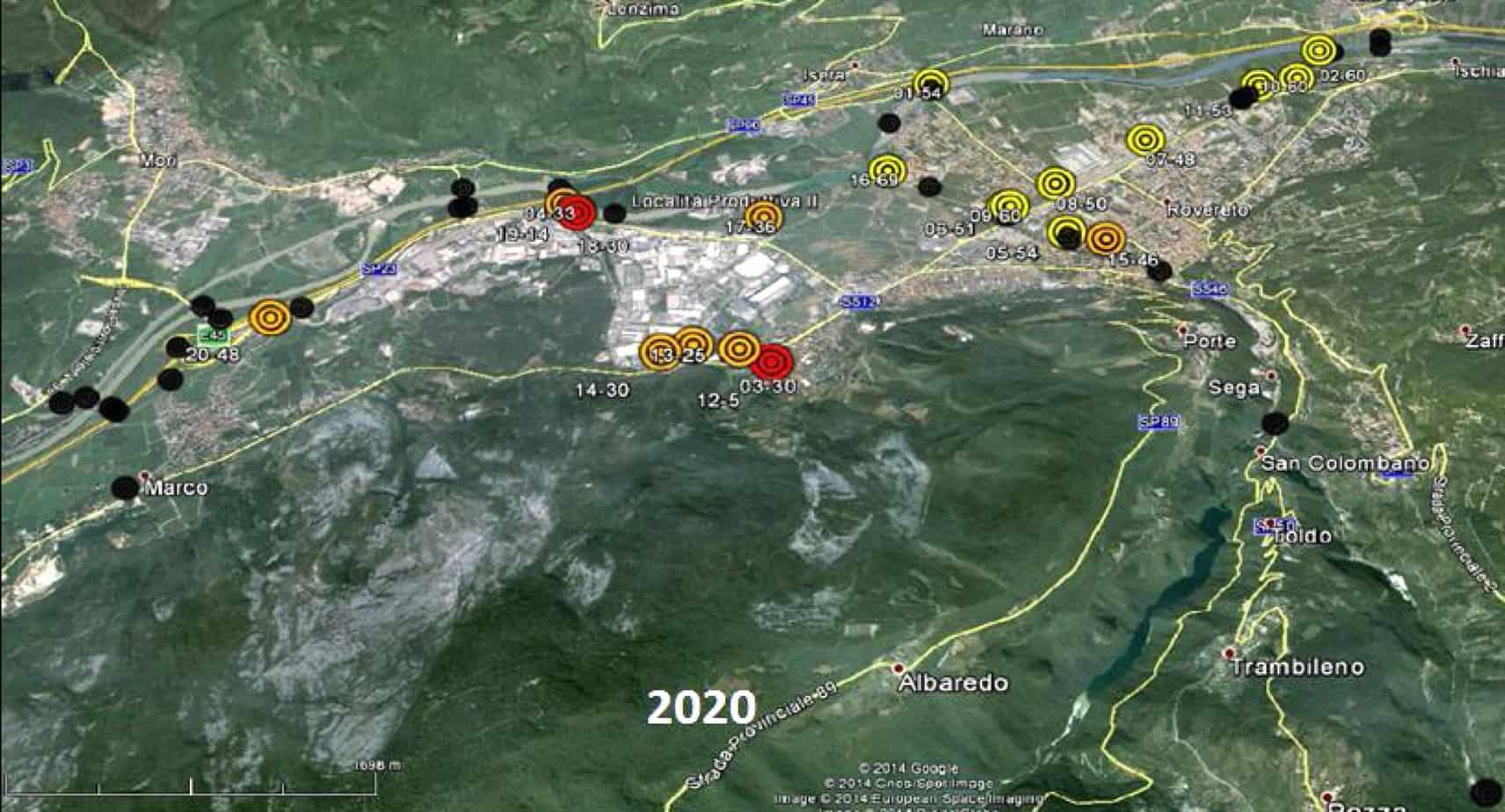 Lo scenario di deterioramento nell'anno 2020 per un gruppo di manufatti situati nel comune di Rovereto