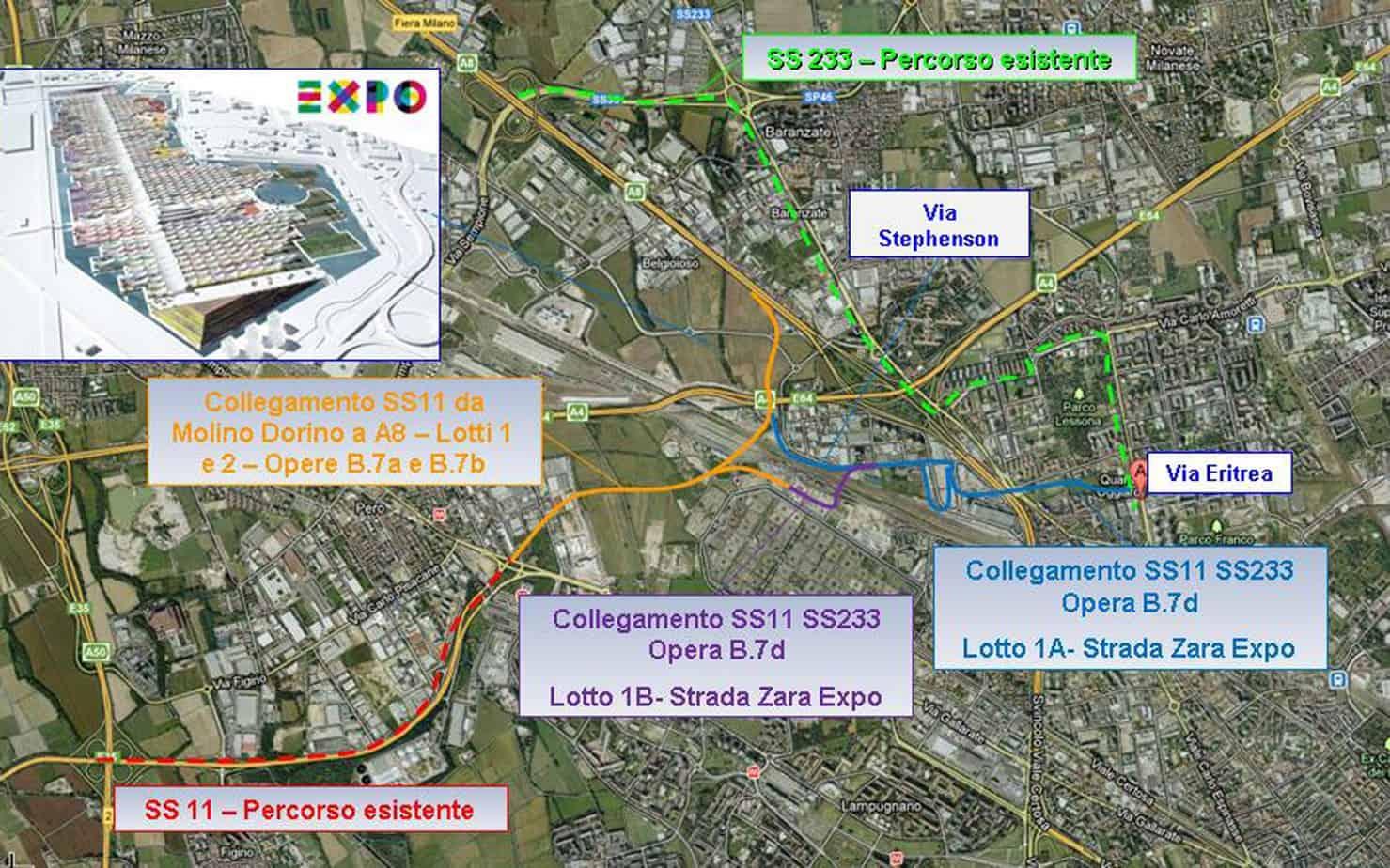 Il quadro di accessibilità viabilistica al sito Expo 2015: in blu la strada in costruzione da Via Eritrea e il sito espositivo